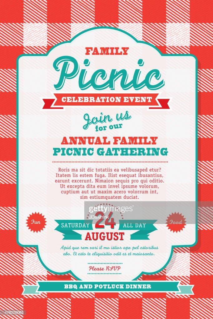 BBQ tablecloth picnic invitation design template