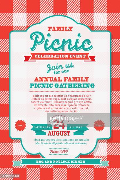 Picnic vector art and graphics getty images bbq tablecloth picnic invitation design template stopboris Choice Image
