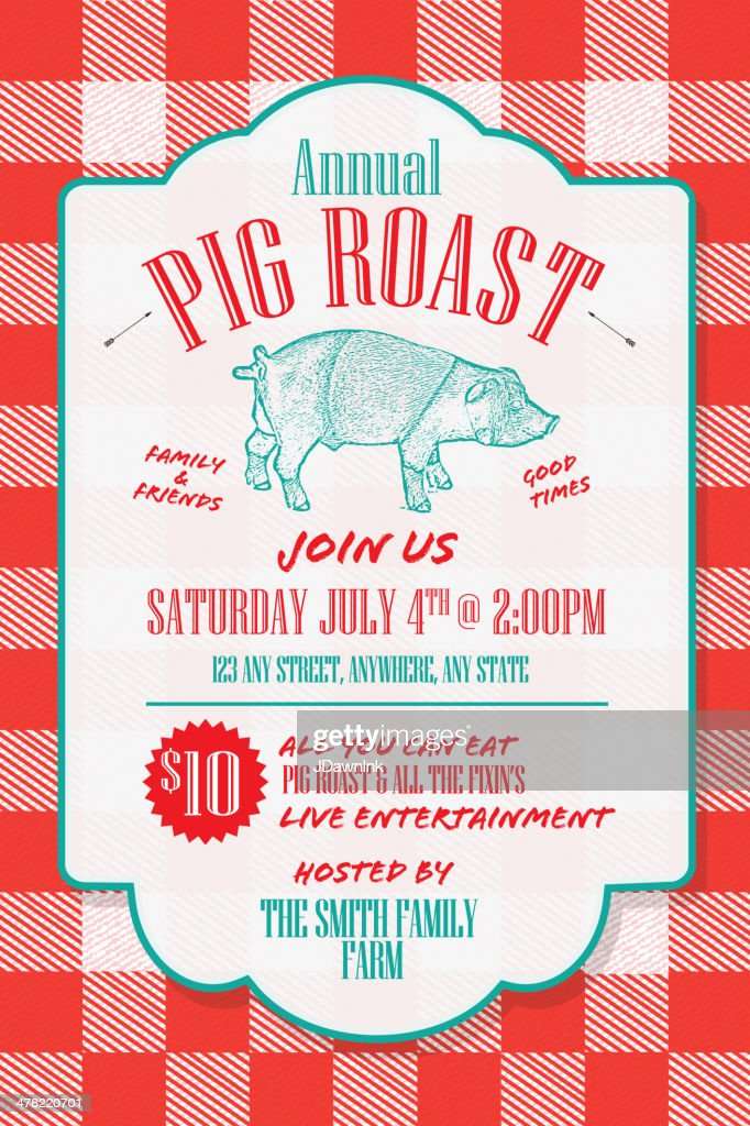Bbq Tablecloth Pig Roast Picnic Invitation Design Template Vector