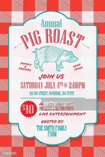 BBQ tablecloth pig roast picnic invitation design template