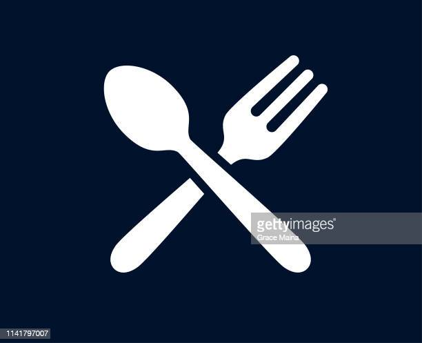tablespoon and fork - vector - spoon stock illustrations
