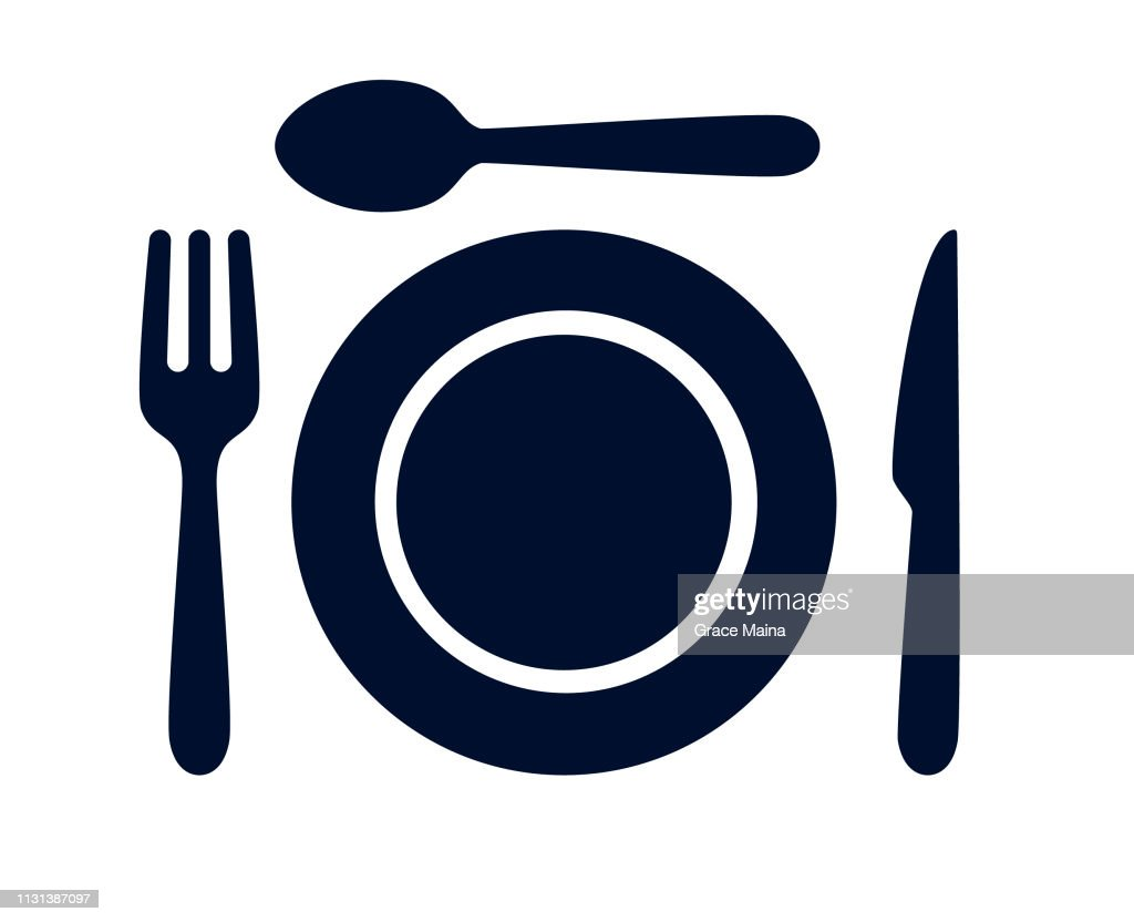 Cucharada, cuchillo de mesa, tenedor y plato cena conjunto ilustración vectorial : Ilustración de stock