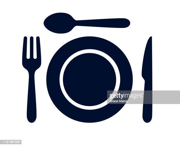 ilustrações de stock, clip art, desenhos animados e ícones de tablespoon,table knife,fork and plate dinner set vector illustration - talheres