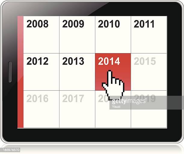 tablet 2014 calendar - electronic organizer stock illustrations, clip art, cartoons, & icons