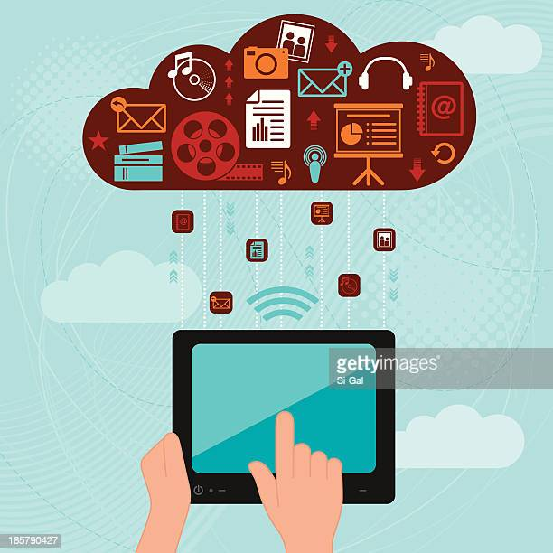 tablet and cloud computing - podcasting stock illustrations, clip art, cartoons, & icons