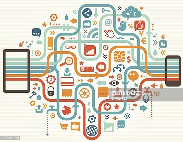 Ordinateur tablette et téléphone portable en contact avec le monde en ligne