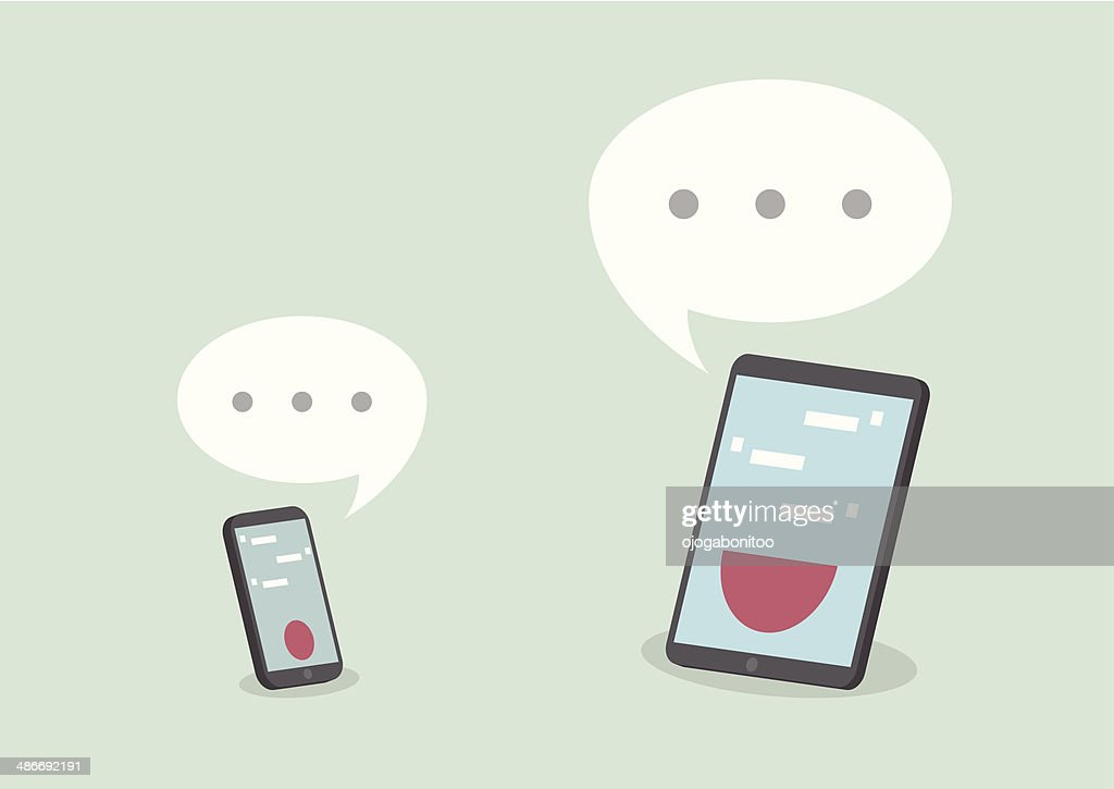 Tablet and smart phone with speech bubbles