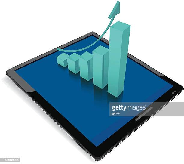 Tablet Computer with finance graphics