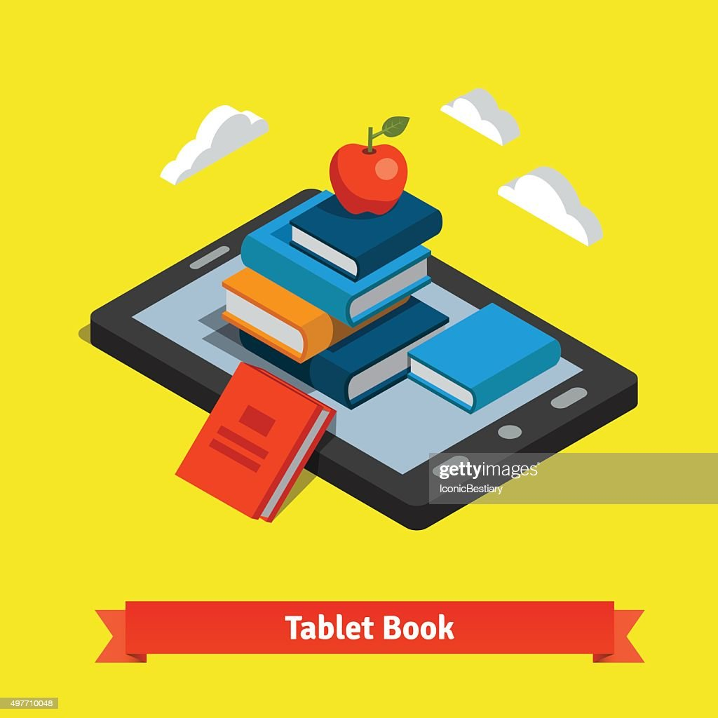 Tablet e-reader book reading and modern technology