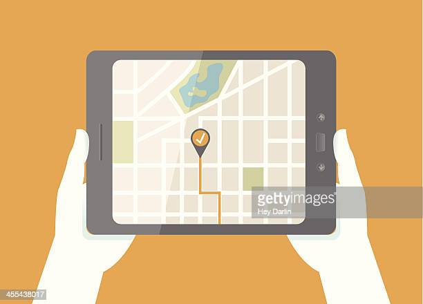 tablet gps map - global positioning system stock illustrations