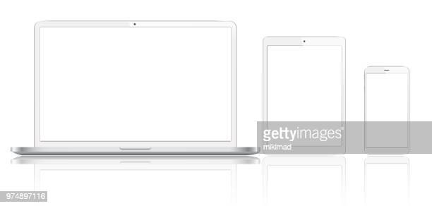 tablet, mobile phone and laptop - white background stock illustrations