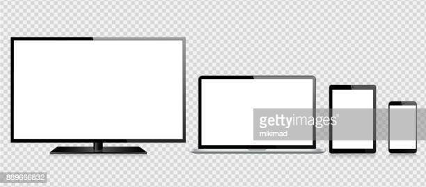 tablet, mobile phone, laptop and monitor - white background stock illustrations