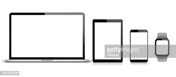 tablet, mobile phone, laptop and smart watch - white background stock illustrations
