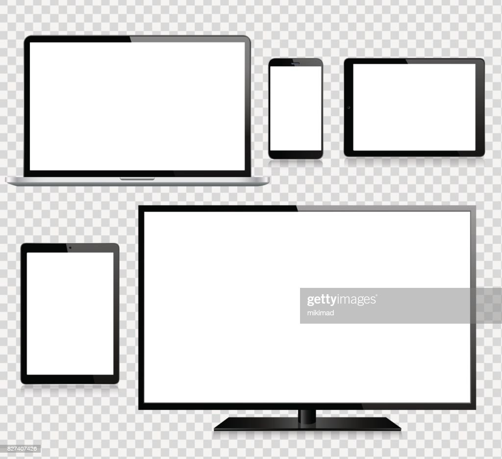 Tablet, Mobile Phone, Laptop, TV and Monitor : stock illustration