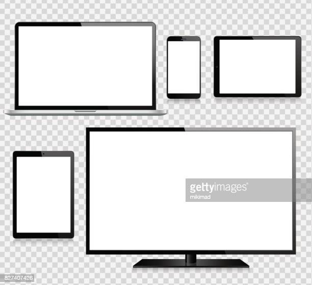 tablet, mobile phone, laptop, tv and monitor - mobile phone stock illustrations, clip art, cartoons, & icons