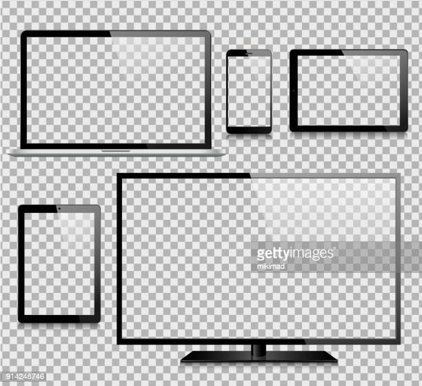 tablet, mobile phone, laptop, tv and monitor - white background stock illustrations