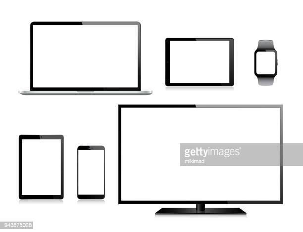 tablet, mobile phone, laptop, tv and smart watch - equipment stock illustrations