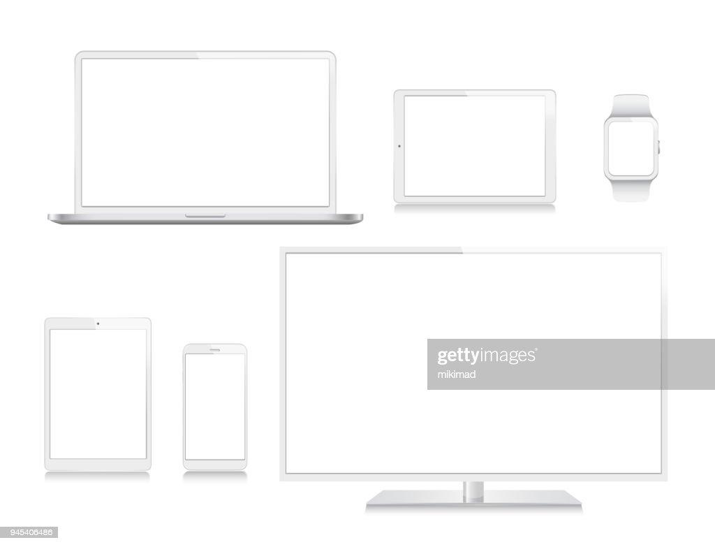 Tablet, mobiele telefoon, Laptop, TV en Smart Watch : Stockillustraties