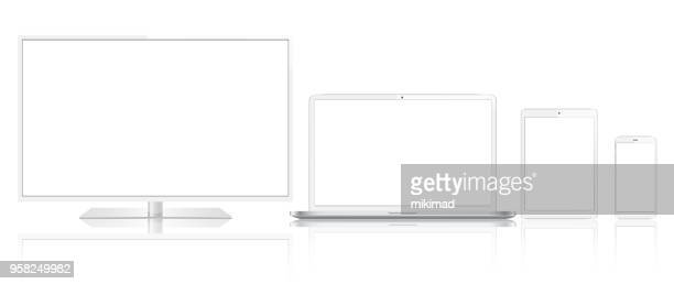 tablet, mobile phone, laptop, tv and smart watch - white stock illustrations