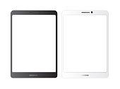 Tablet  mockup.white isolated vector screen.Black and white blank screens.  Showcase screenshots.Responsive to display your mobile web site design. Vector illustration