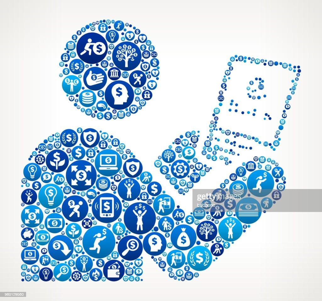 Tablette Geld blaues Symbol Muster Hintergrund : Stock-Illustration