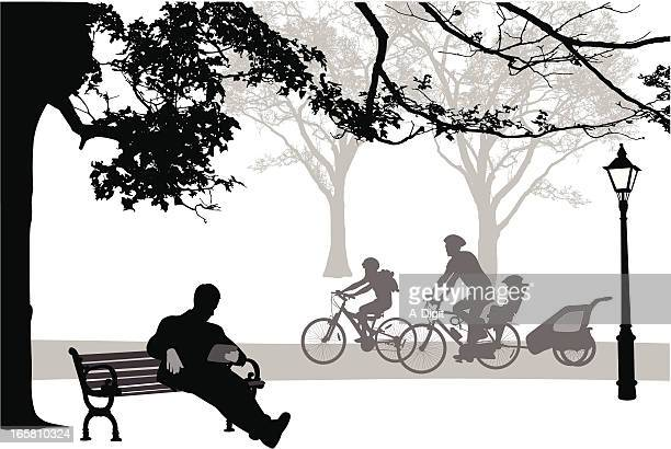 tablet outdoors vector silhouette - family cycling stock illustrations, clip art, cartoons, & icons