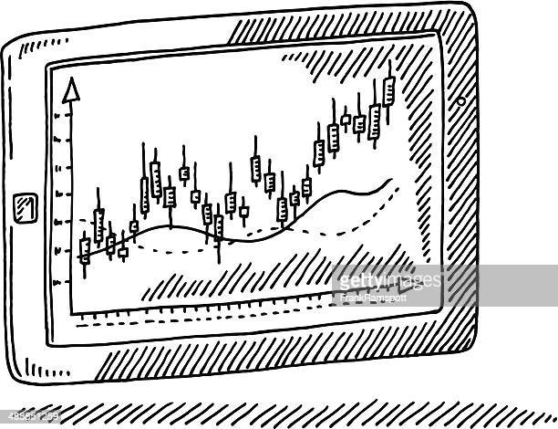 tablet pc candlestick chart drawing - wall street stock illustrations