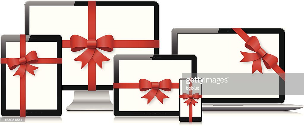 Tablet pc, computer screen, laptop and mobile phone gift
