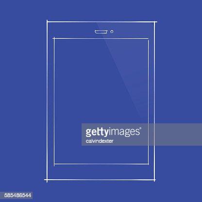 Smartphone concept design on blueprint document vector art getty similar images malvernweather Choice Image
