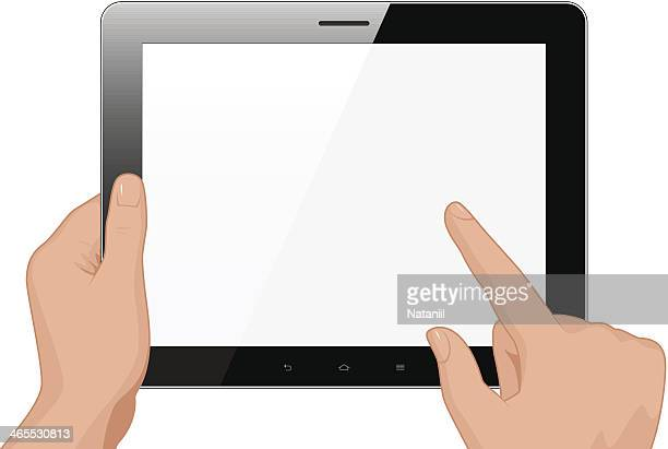 tablet pc in hands - blank screen stock illustrations, clip art, cartoons, & icons