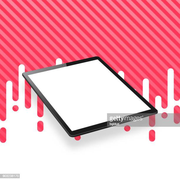 Tablet Pc isolated on abstract red background - Isometric Tablet Pc Template