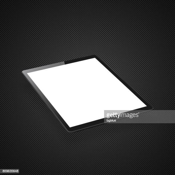 tablet pc isolated on carbon fiber background - isometric tablet pc template - blank screen stock illustrations, clip art, cartoons, & icons