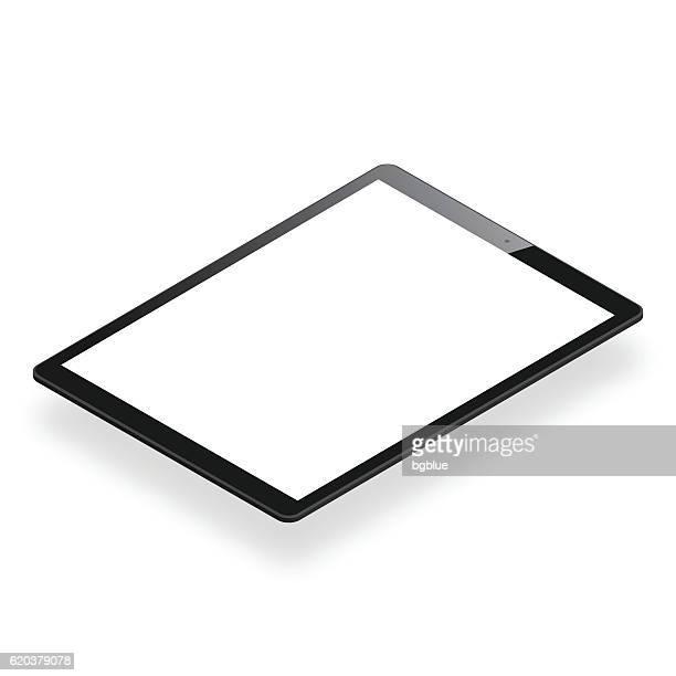 tablet pc isoliert auf weißem hintergrund - isometrische tablet-vorlage - tablet pc stock-grafiken, -clipart, -cartoons und -symbole