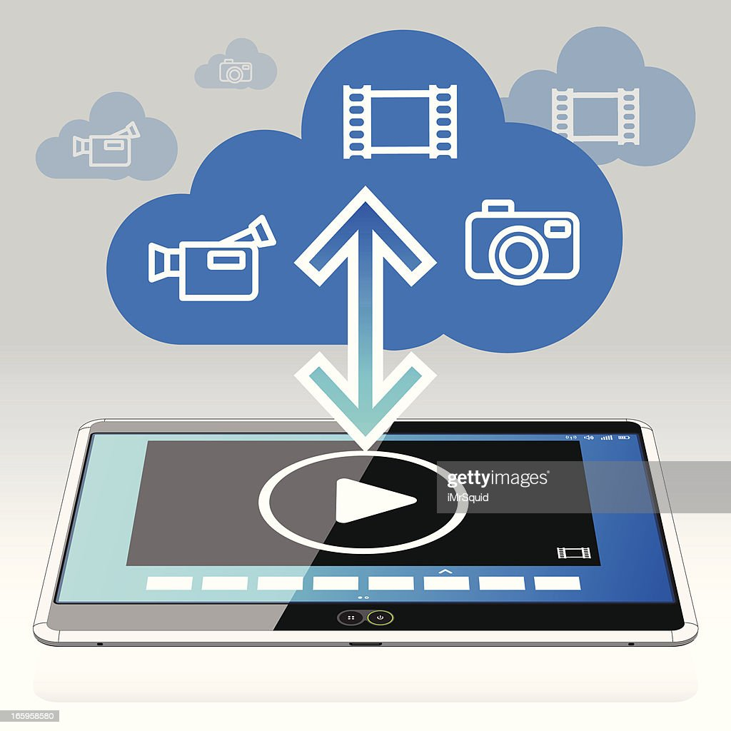 Tablet PC - Movies in the Data Cloud : stock illustration