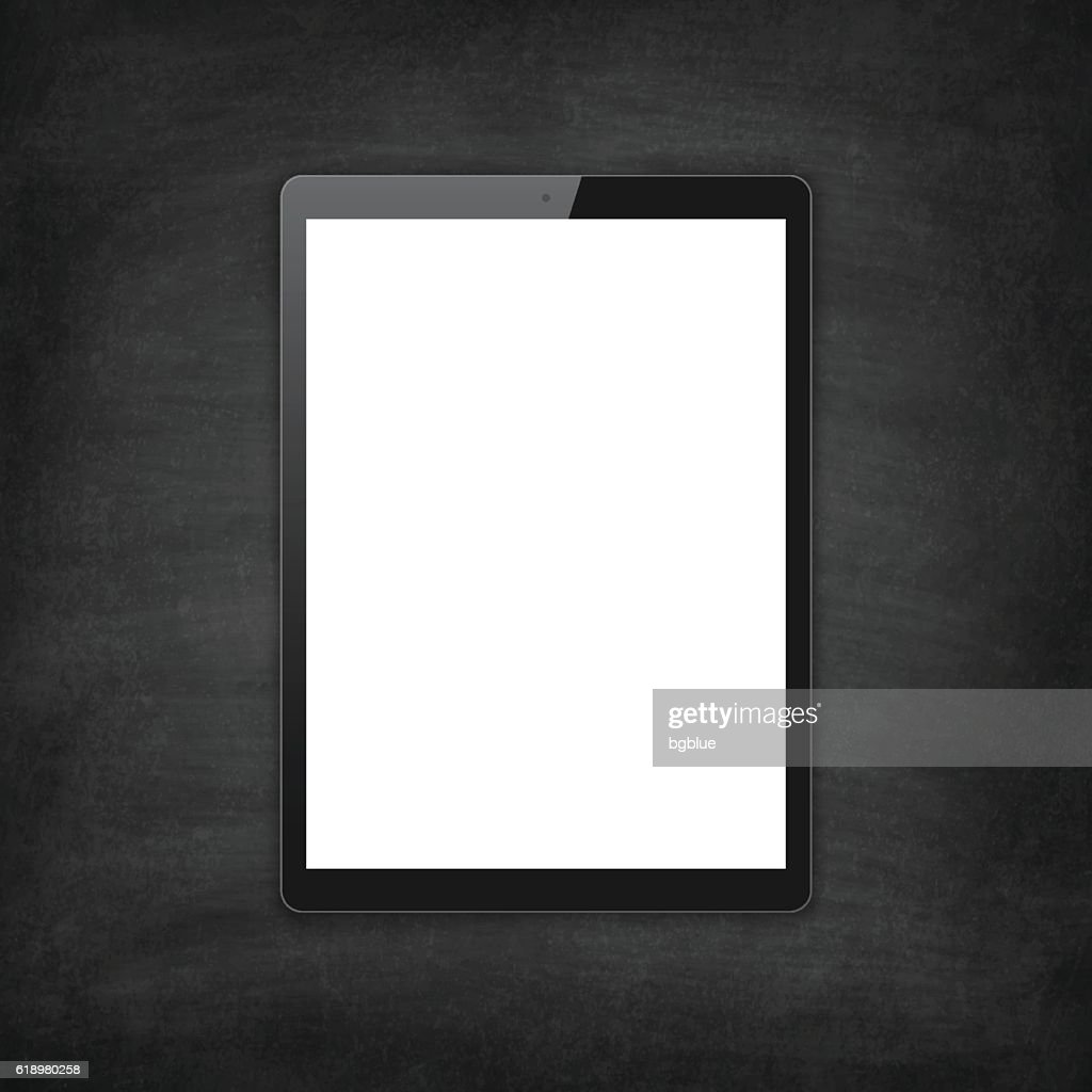 tablet pc on blackboard chalkboard digital tablet template vector