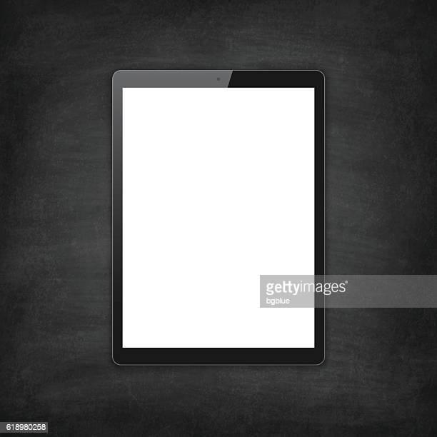 Tablet Pc on blackboard, Chalkboard - Digital Tablet Template