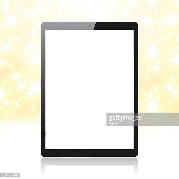 Tablet Pc on golden and shiny background. Digital Tablet Template