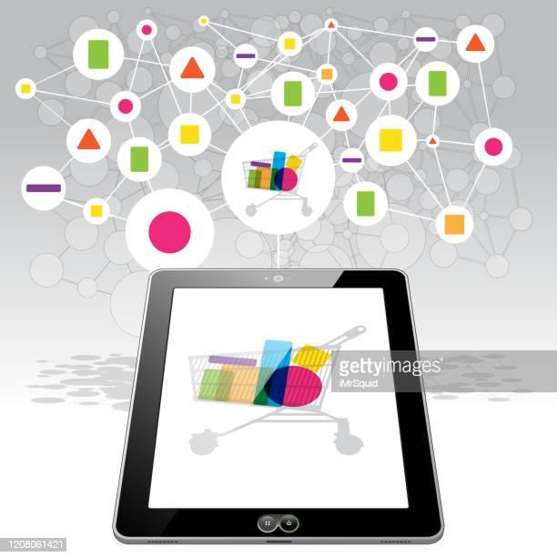 ilustraciones, imágenes clip art, dibujos animados e iconos de stock de tablet pc en línea shopping - tableta gráfica