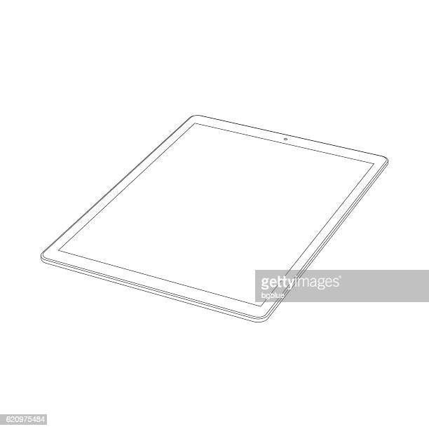 tablet pc outline template isolated on white background. icon - blank screen stock illustrations, clip art, cartoons, & icons
