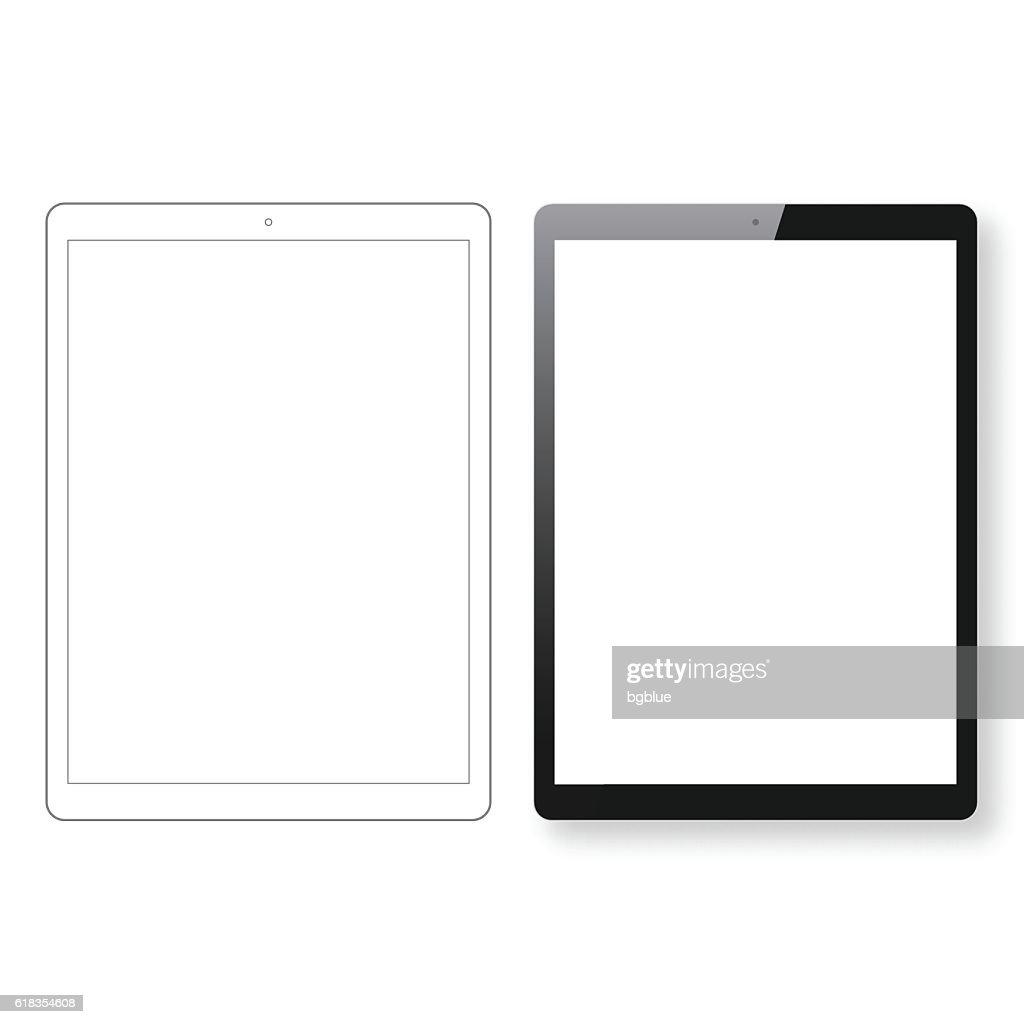 Tablet Pc template and Digital Tablet outline isolated white background