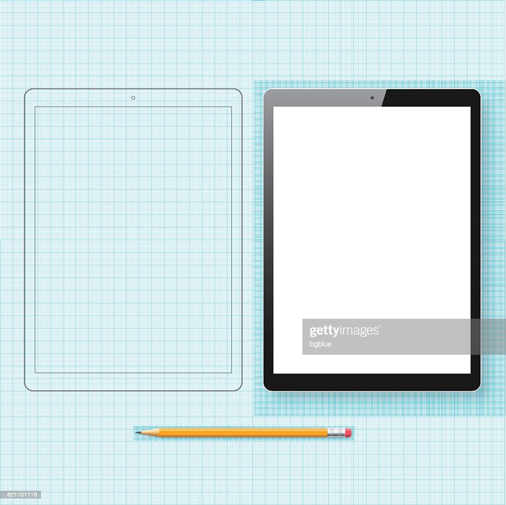 tablet pc template and outline drawing isolated on graph paper vector art