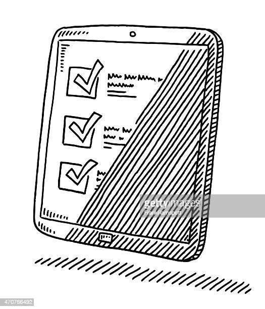 tablet pc häkchen mark liste abbildung - frankramspott stock-grafiken, -clipart, -cartoons und -symbole