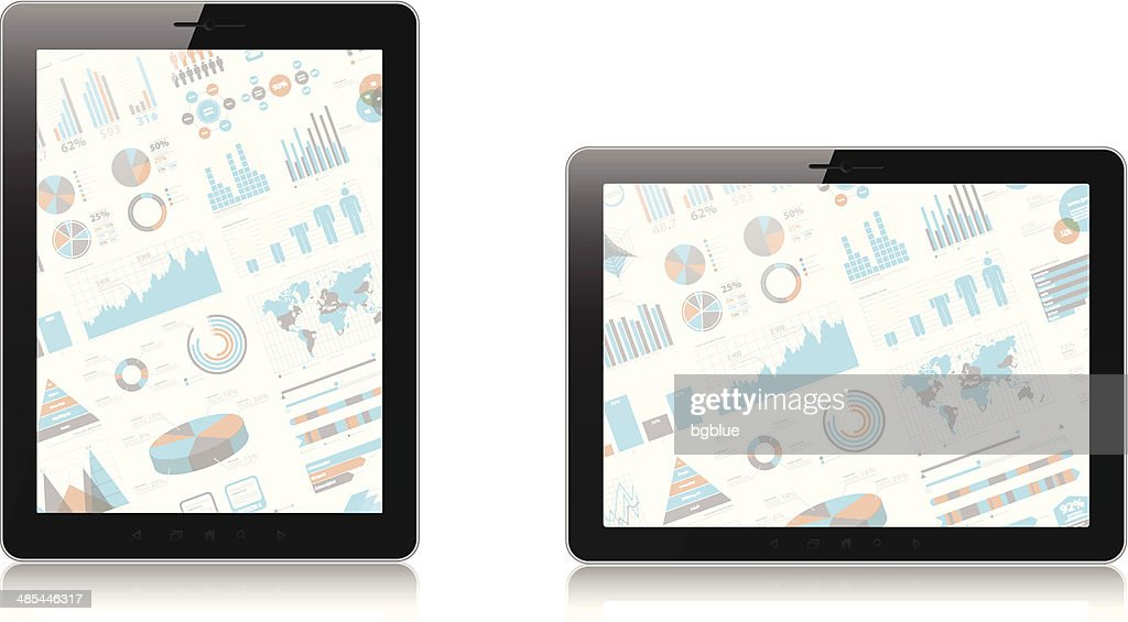 Tablet PC with infographic screen