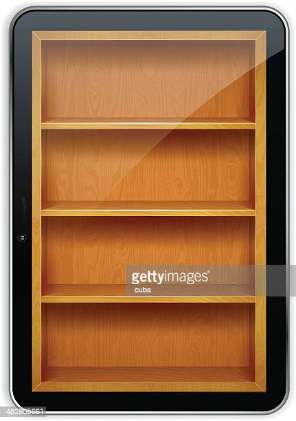 Tablet PC with wooden bookshelves
