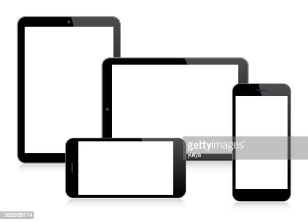 tablet, smartphone, mobile phone in black color - wide screen stock illustrations