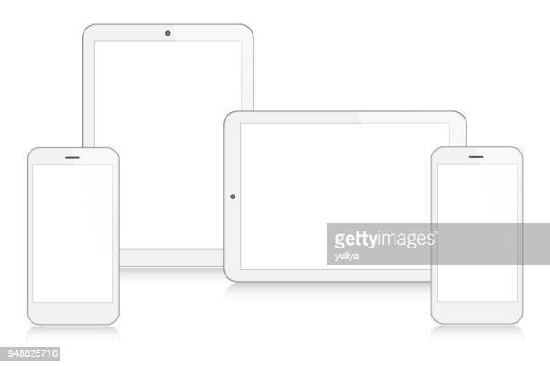 tablet, smartphone, mobile phone in silver color - wide screen stock illustrations