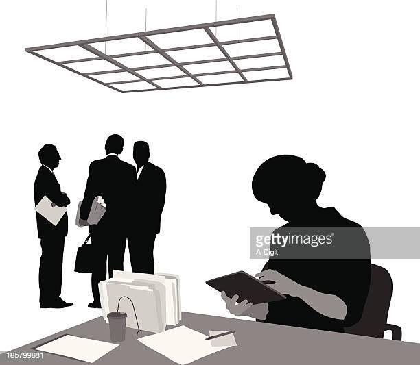 tablet use vector silhouette - desk organizer stock illustrations, clip art, cartoons, & icons