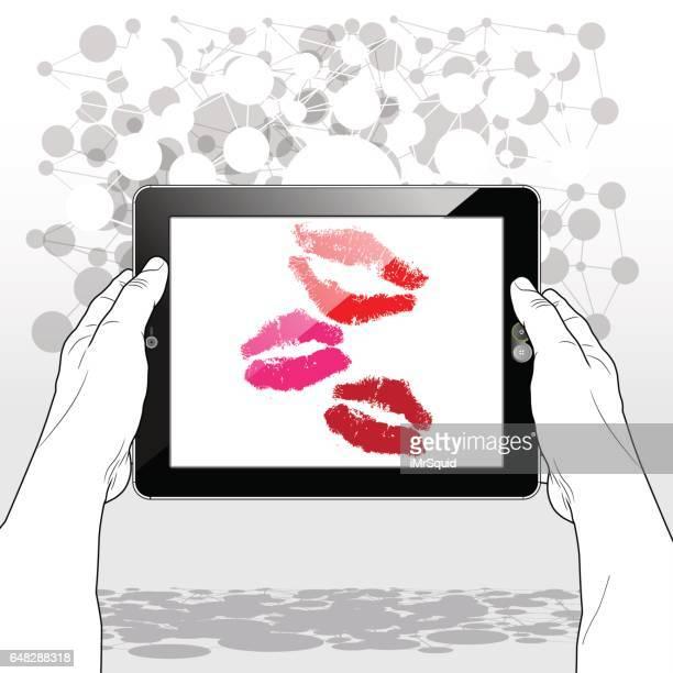 tablet view virtual kisses - lipstick kiss stock illustrations, clip art, cartoons, & icons
