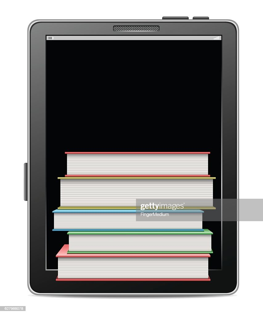 Tablet with books : stock illustration