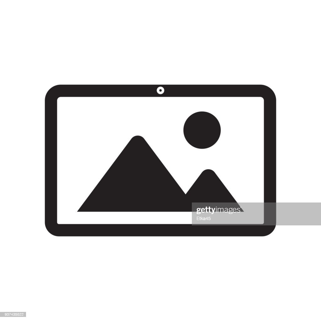 tablet with grey picture vector illustration design